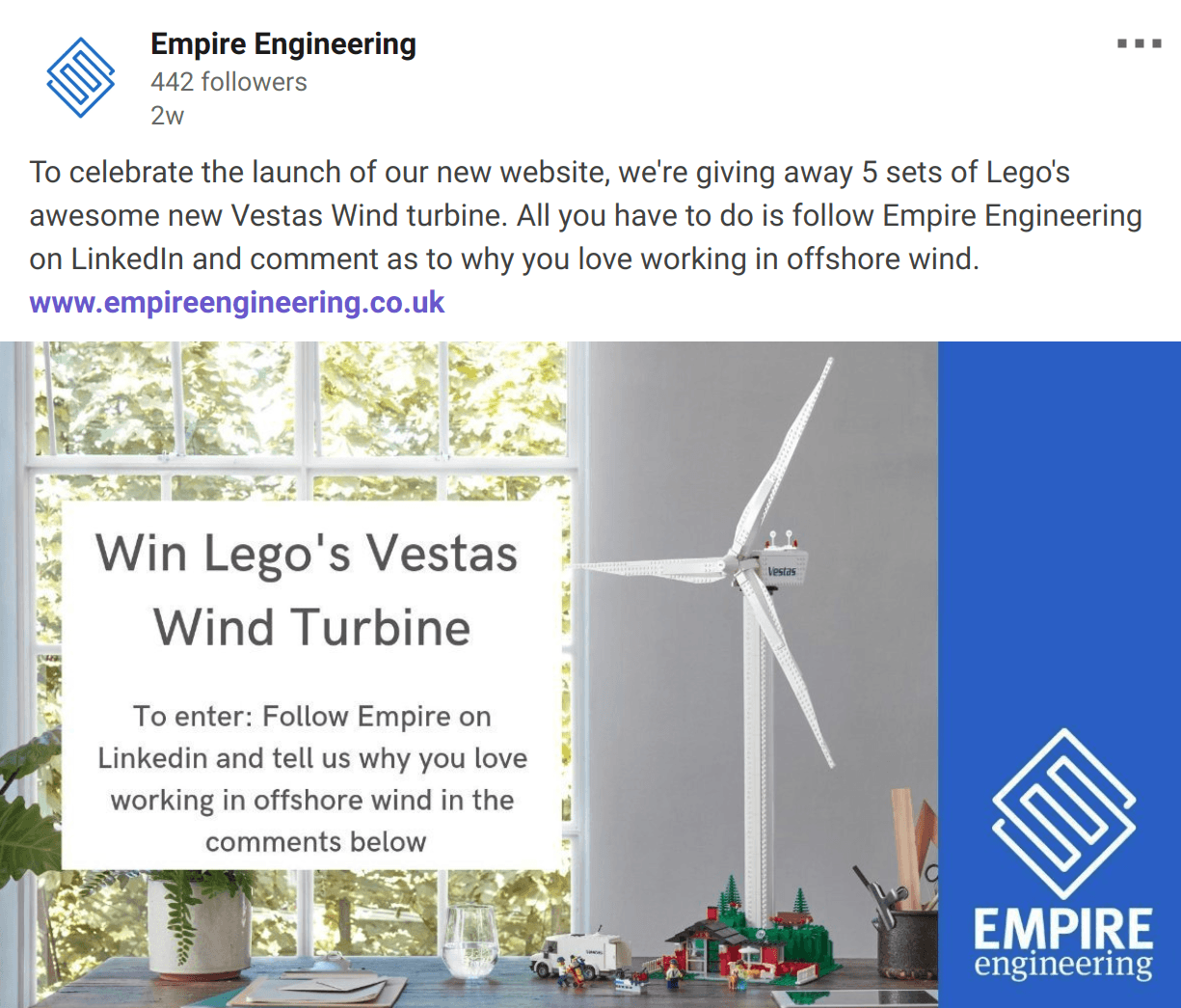 And the winners of a Lego Vestas Wind Turbine are…