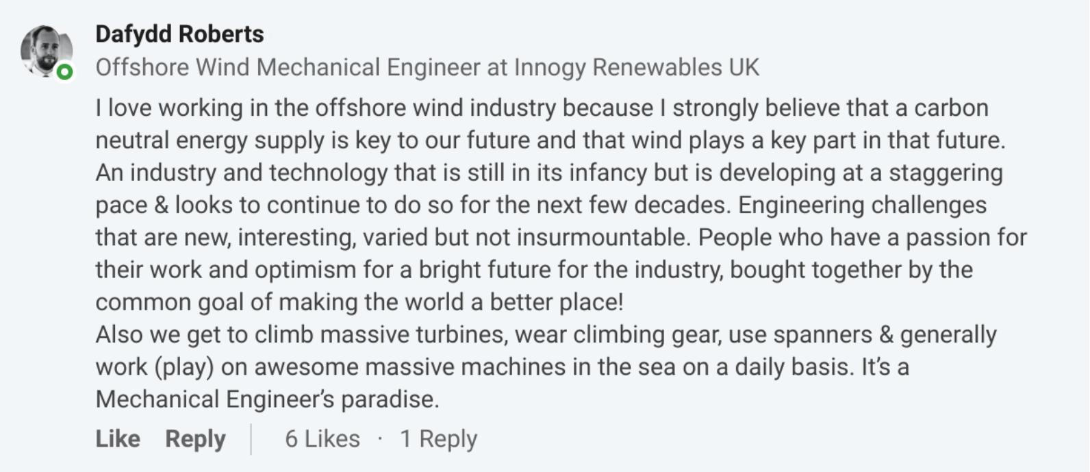 Dafydd Roberts from Innogy Renewables UK