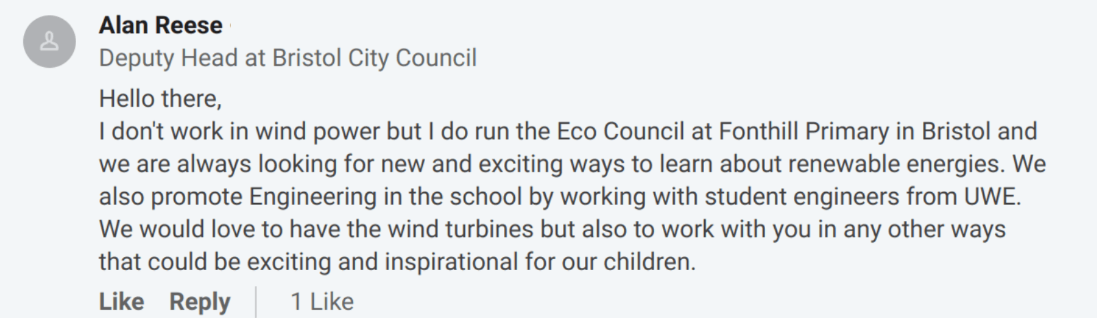 Alan Reese from Fonthill Primary School Eco Council
